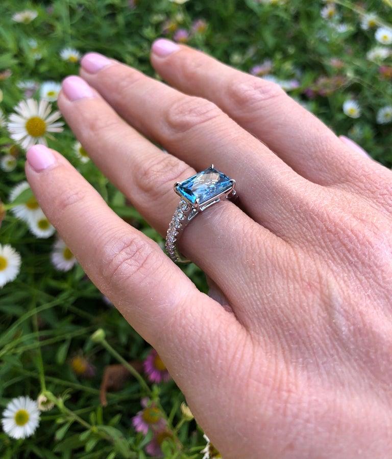Aquamarine Cocktail Ring Emerald Cut Diamond Platinum Modern Ring For Sale 1