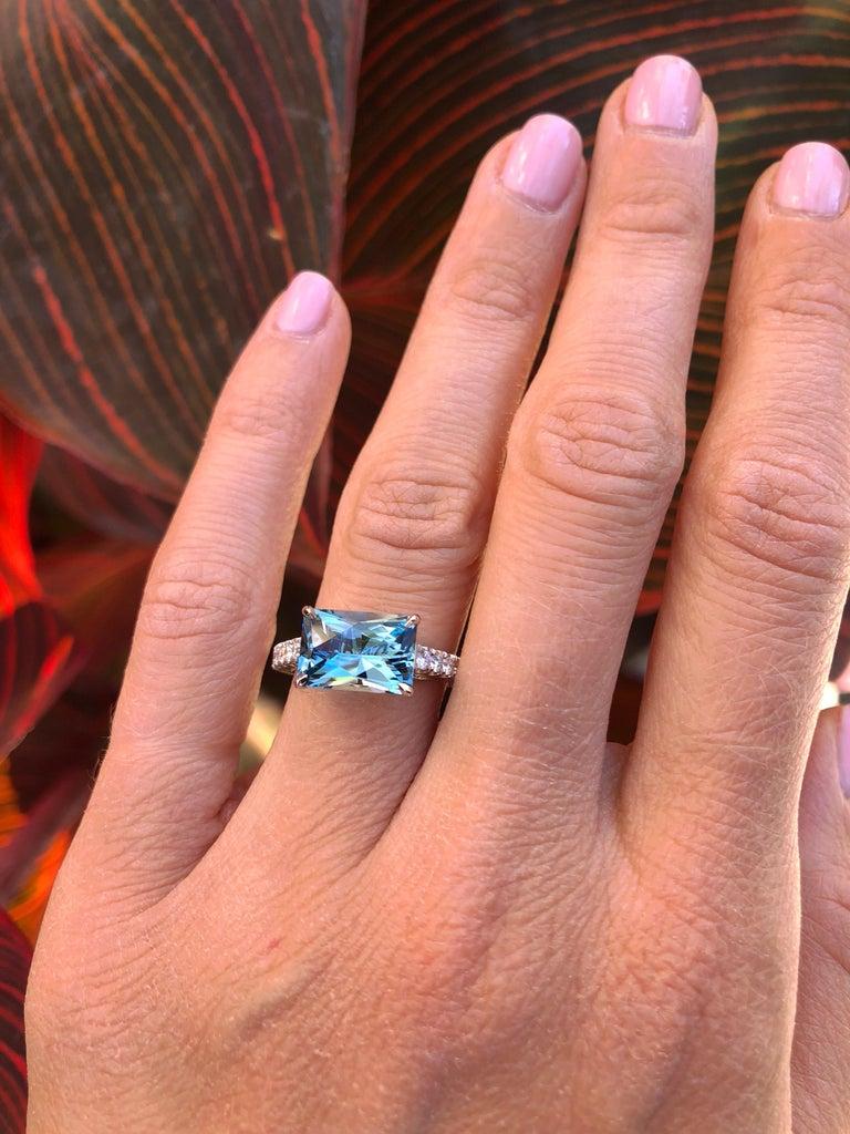 Women's Aquamarine Cocktail Ring Emerald Cut Diamond Platinum Modern Ring For Sale