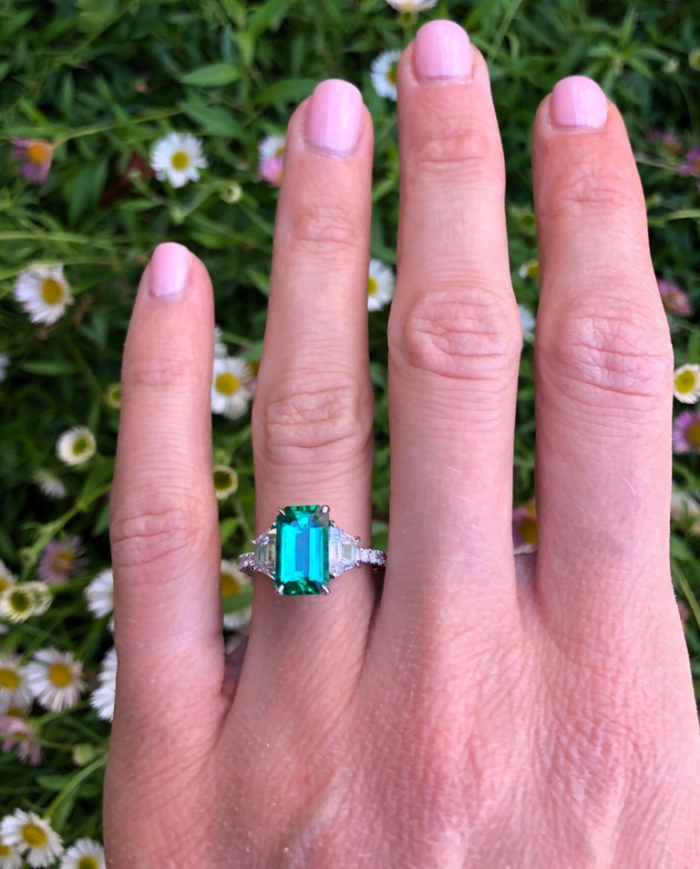 Natural Untreated Colombian Emerald Emerald Cut Diamond Platinum Cocktail Ring For Sale 2