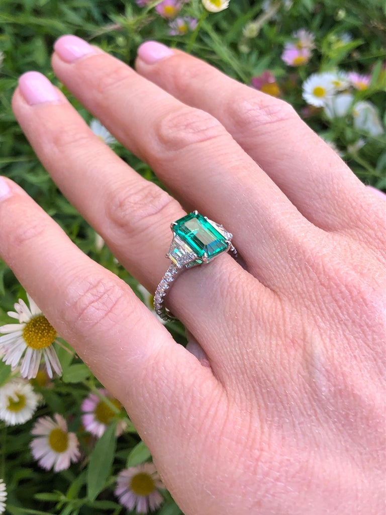 Natural Untreated Colombian Emerald Emerald Cut Diamond Platinum Cocktail Ring For Sale 1