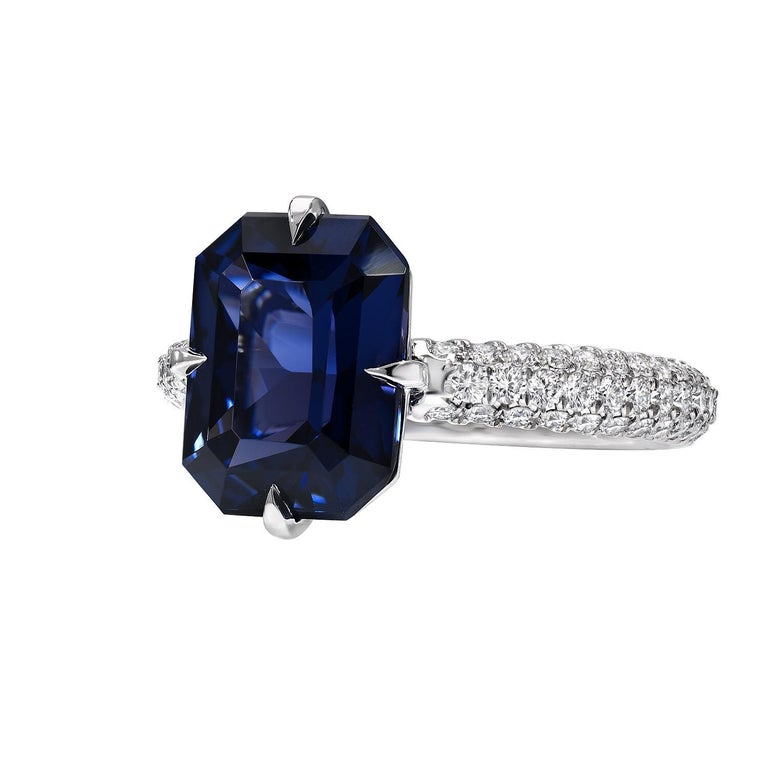 Blue Spinel Engagement Ring Emerald Cut Diamond Platinum Cocktail Ring In New Condition For Sale In Beverly Hills, CA