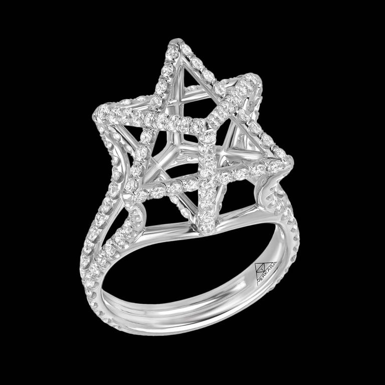 Round Cut Merkaba Diamond Platinum Ring Three Dimensional Star For Sale