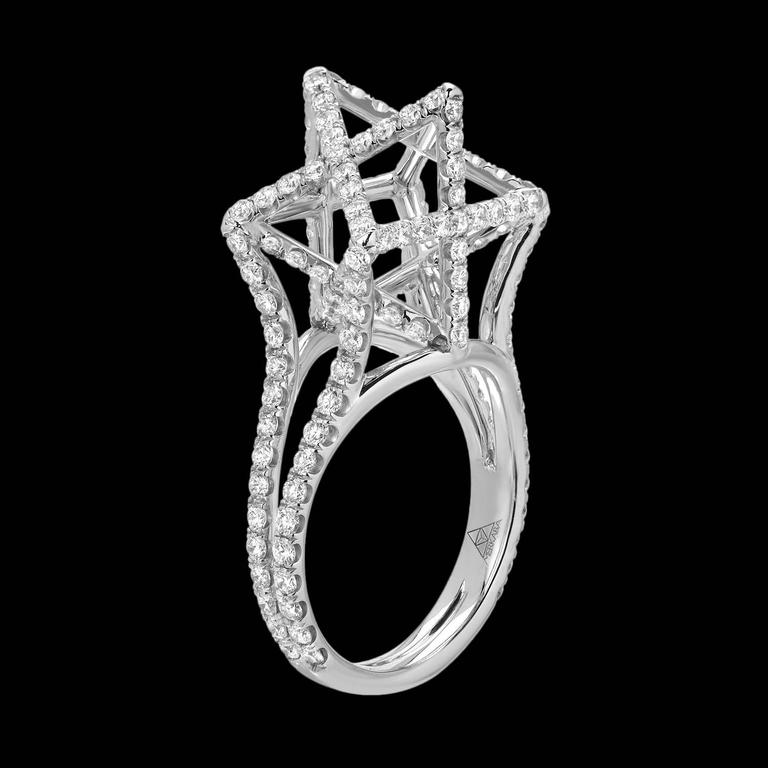 Merkaba Diamond Platinum Ring Three Dimensional Star In New Condition For Sale In Beverly Hills, CA