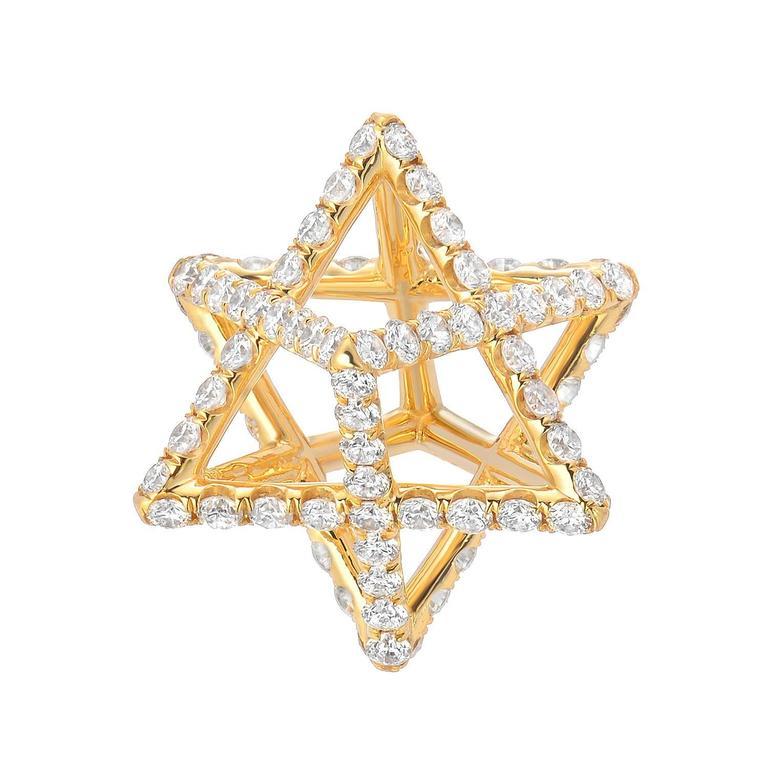 Star of David Merkaba Diamond Gold Geometric Pendant Necklace
