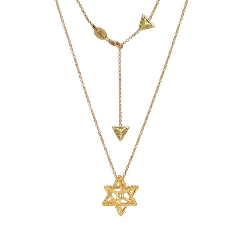 Merkaba Fancy Yellow Diamond Gold Pendant Necklace 2