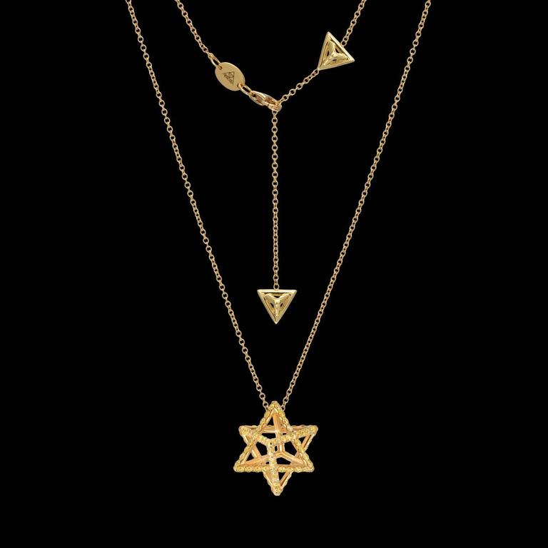Merkaba Fancy Yellow Diamond Gold Pendant Necklace 3