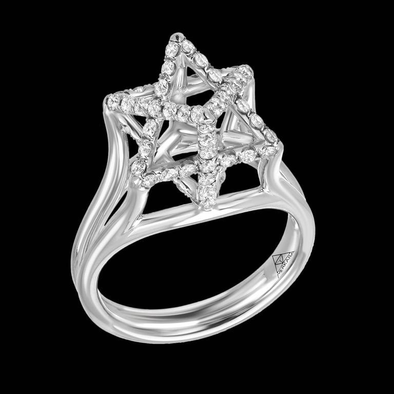 Women's Merkaba Three Dimensional Star Diamond Platinum Geometric Ring For Sale