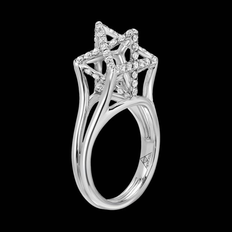 Merkaba Three Dimensional Star Diamond Platinum Geometric Ring For Sale 1