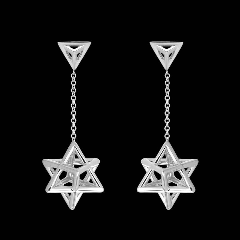 Merkaba Star Tetrahedron Platinum Drop Earrings For Sale