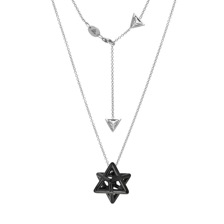 star of david merkaba black platinum drop necklace for