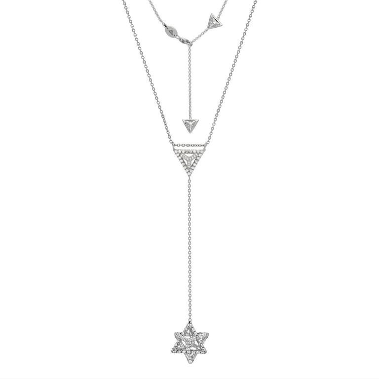 Merkaba Diamond Platinum Necklace Three Dimensional Star In New Condition For Sale In Beverly Hills, CA