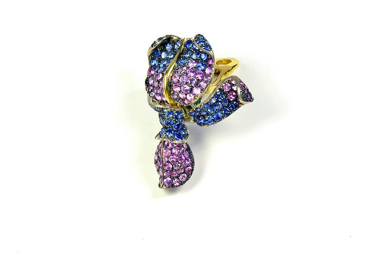 Contemporary Unique Glycine's Flower Ear Clips 18K Gold, pave set Emeralds and Sapphires For Sale