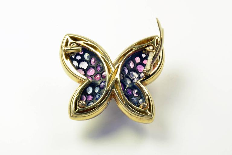 Contemporary Colored Sapphires Butterfly Brooch Created by Marion Jeantet For Sale
