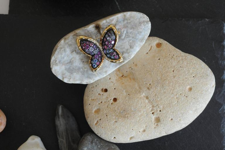Colored Sapphires Butterfly Brooch Created by Marion Jeantet In As New Condition For Sale In Paris, FR