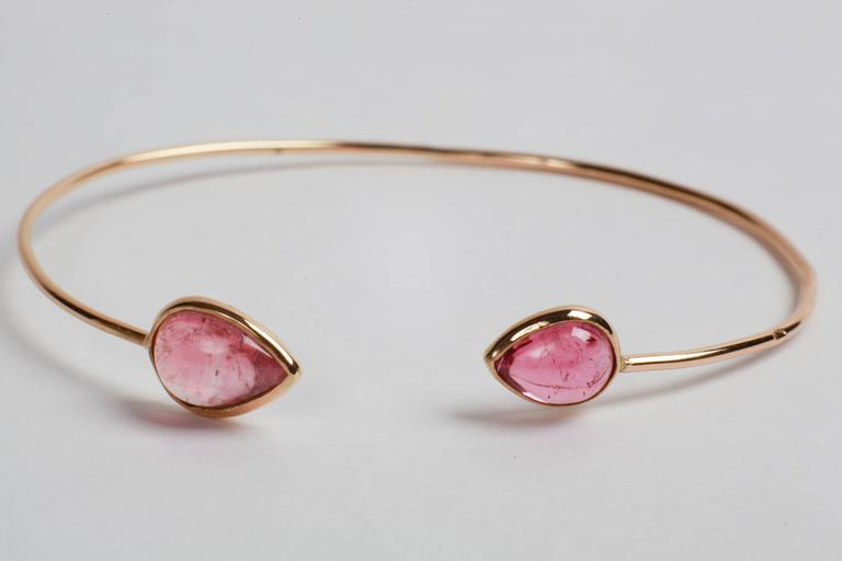 Marion Jeantet Two Tourmaline Gold Bangle Bracelets In New Condition For Sale In Paris, FR