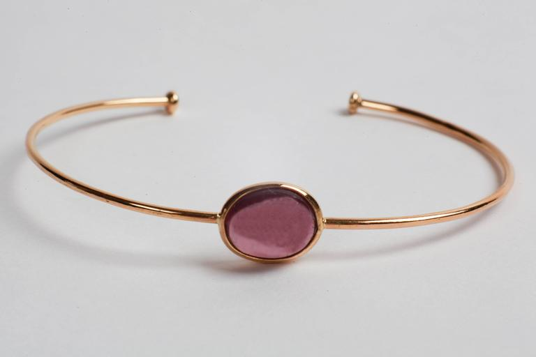 Marion Jeantet Two Tourmaline Gold Bangle Bracelets For Sale 1