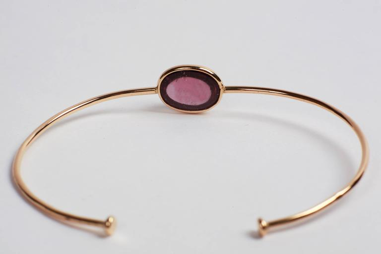 Marion Jeantet Two Tourmaline Gold Bangle Bracelets For Sale 3