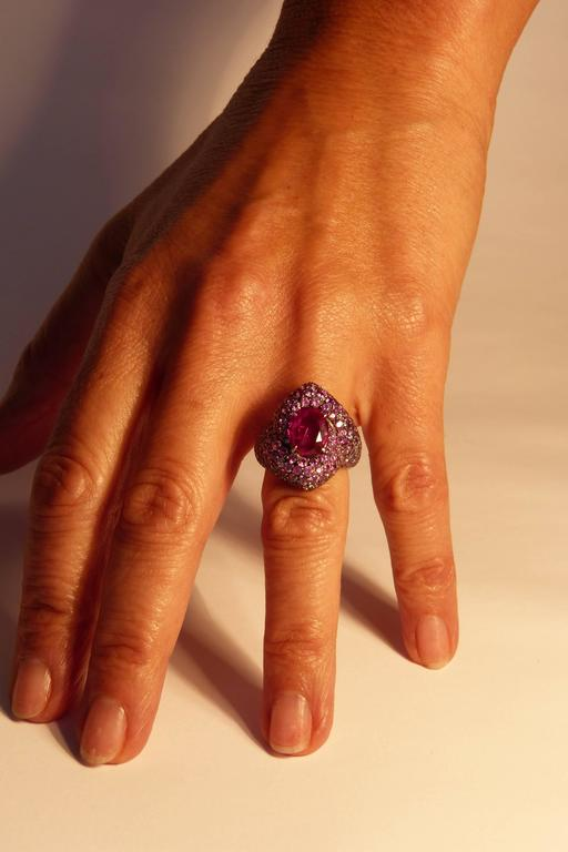 Women's Marion Jeantet Pink Ruby Ring  For Sale