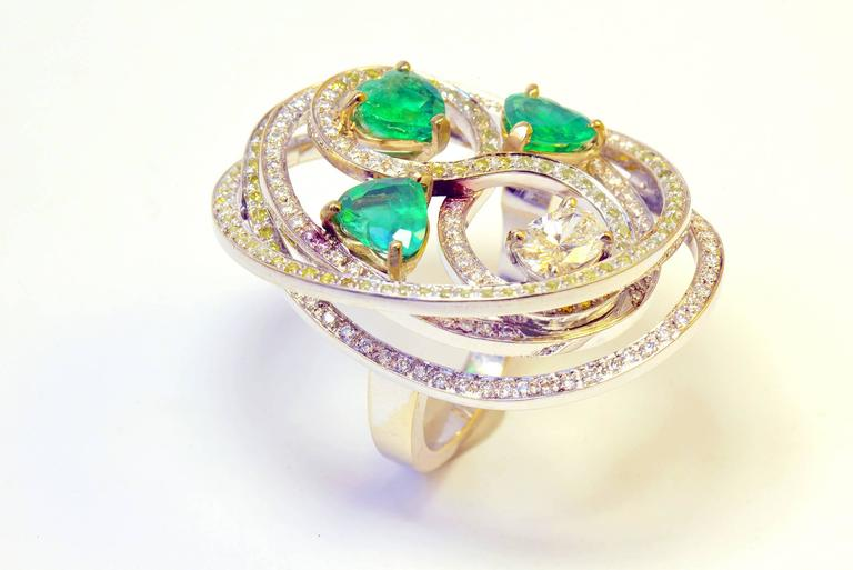 Contemporary Marion Jeantet Emerald Diamond Gold Tourbillon Ring  For Sale