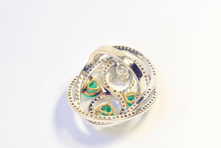 Marion Jeantet Emerald Diamond Gold Tourbillon Ring  In As New Condition For Sale In Paris, FR