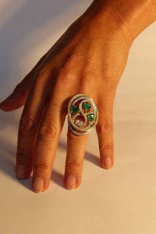 Women's Marion Jeantet Emerald Diamond Gold Tourbillon Ring  For Sale