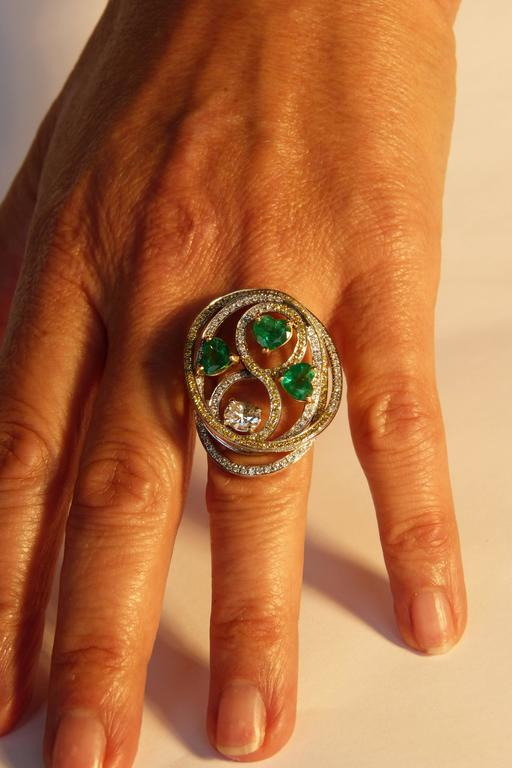 Marion Jeantet Emerald Diamond Gold Tourbillon Ring  For Sale 1