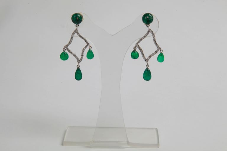 Marion Jeantet Emerald Beads and Diamonds Earrings 2