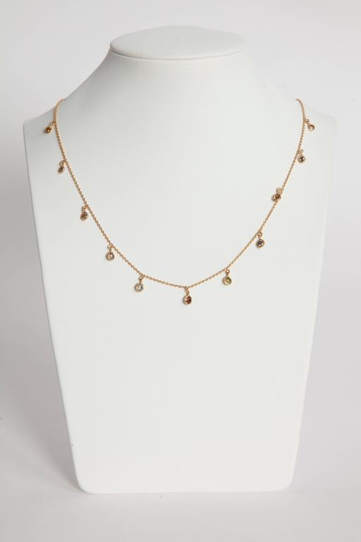 Marion Jeantet Fancy Diamond Yellow Gold Summer Rain Chain Necklace 2