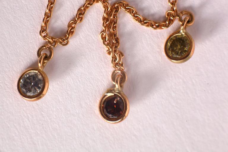 Marion Jeantet Fancy Diamond Yellow Gold Summer Rain Chain Necklace 4