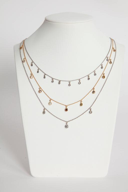 Marion Jeantet Fancy Diamond Yellow Gold Summer Rain Chain Necklace For Sale 1