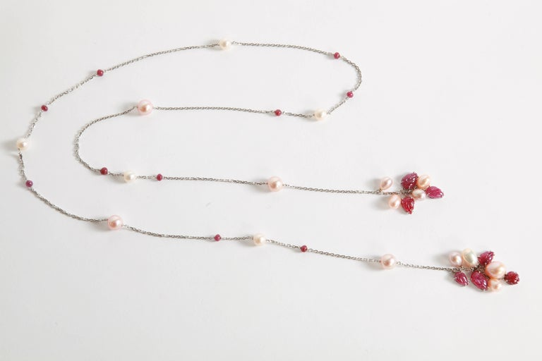 Briolette Cut Engraved Rubies and Pearls on a Long White Gold Chain by Marion Jeantet For Sale