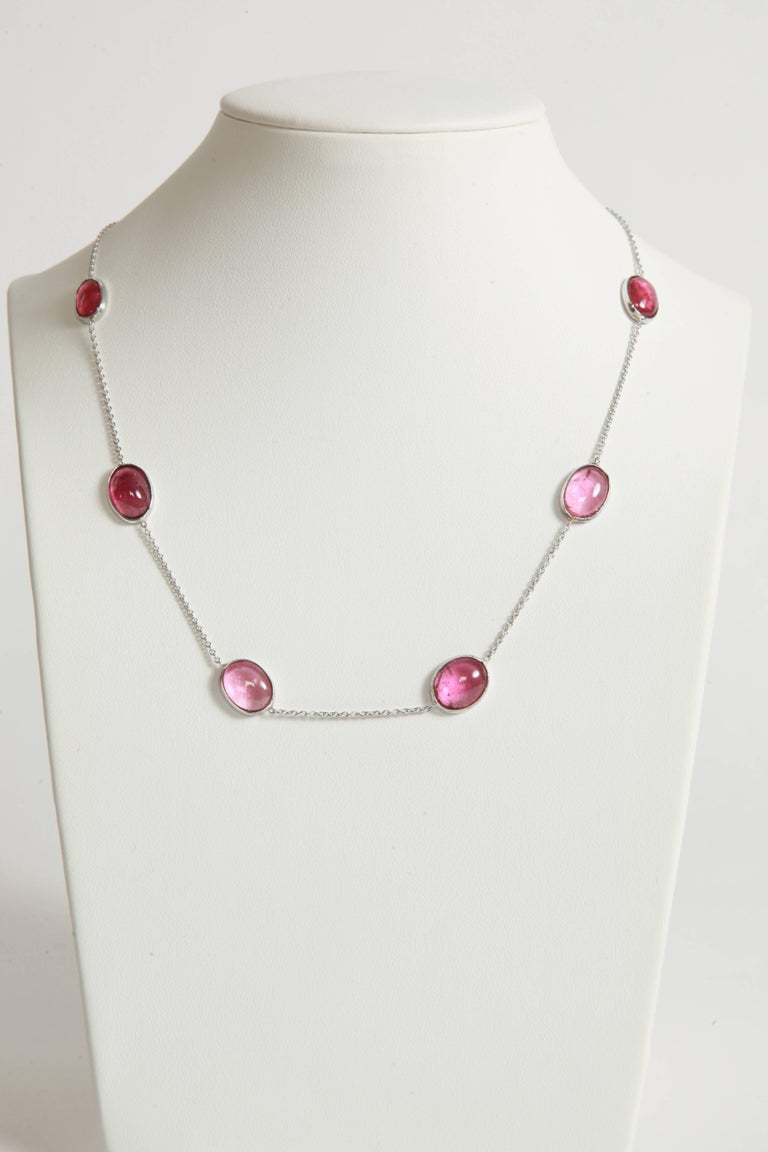 Three White Gold Necklaces with Pink Tourmalines, Opales, Tanzanites 3