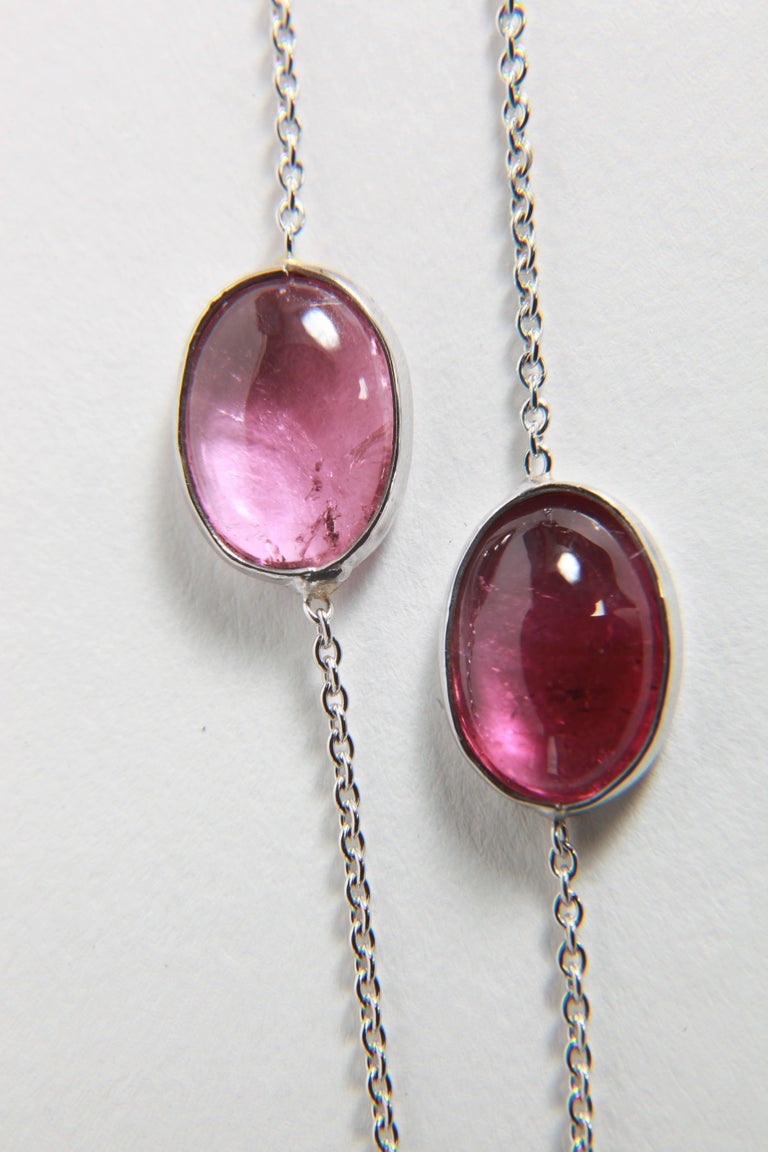 Three White Gold Necklaces with Pink Tourmalines, Opales, Tanzanites 10