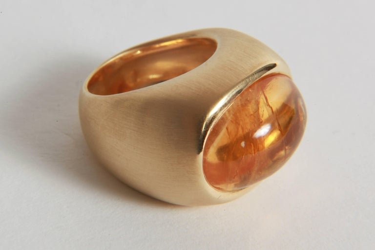 Women's 18K Yellow Boule Ring  Set With a Citrine Cabochon by Marion Jeantet