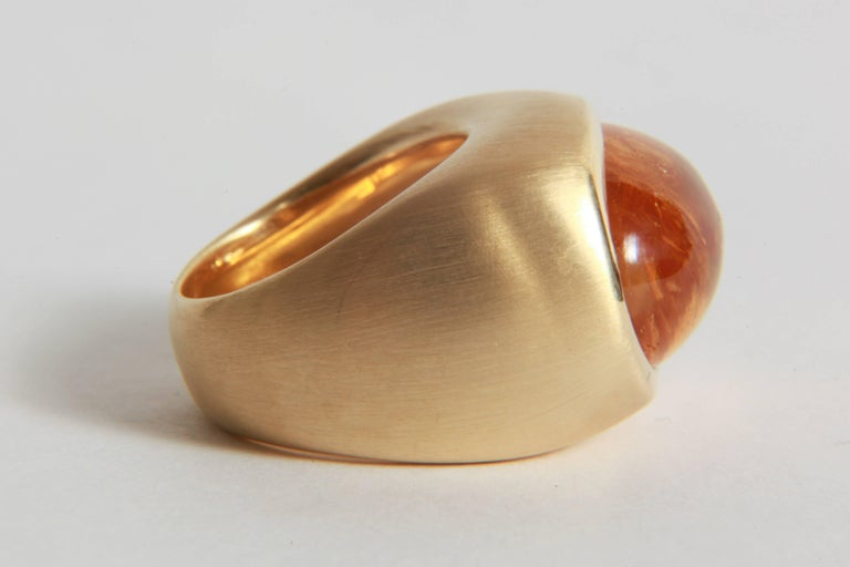 18K Yellow Boule Ring  Set With a Citrine Cabochon by Marion Jeantet 1