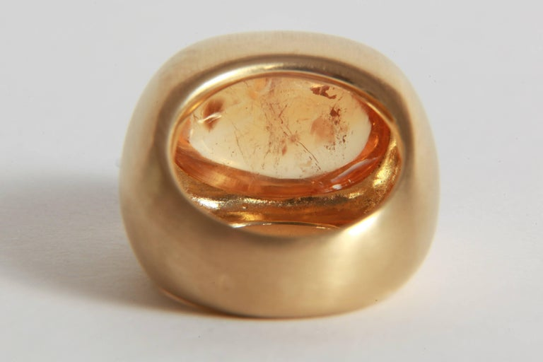 18K Yellow Boule Ring  Set With a Citrine Cabochon by Marion Jeantet 2