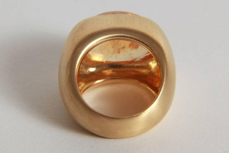 18K Yellow Boule Ring  Set With a Citrine Cabochon by Marion Jeantet 3
