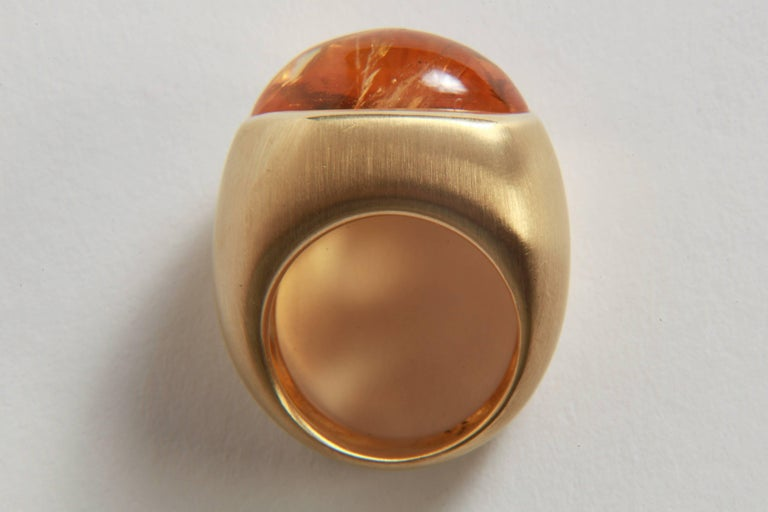 18K Yellow Boule Ring  Set With a Citrine Cabochon by Marion Jeantet 4