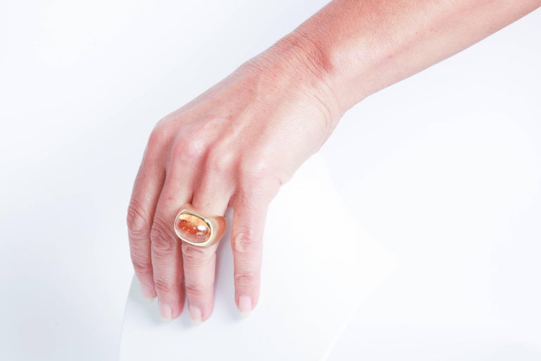 18K Yellow Boule Ring  Set With a Citrine Cabochon by Marion Jeantet 5