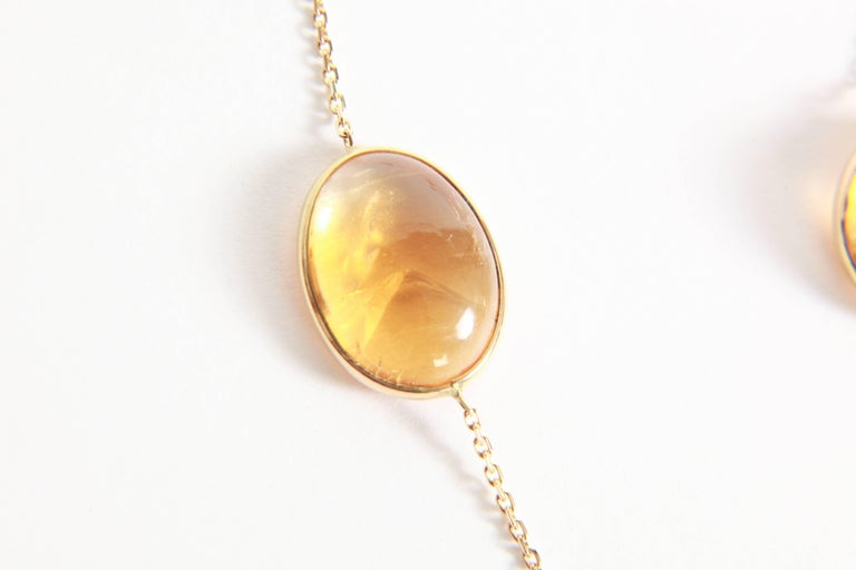 Contemporary Citrine Cabochons Long Necklace by Marion Jeantet For Sale