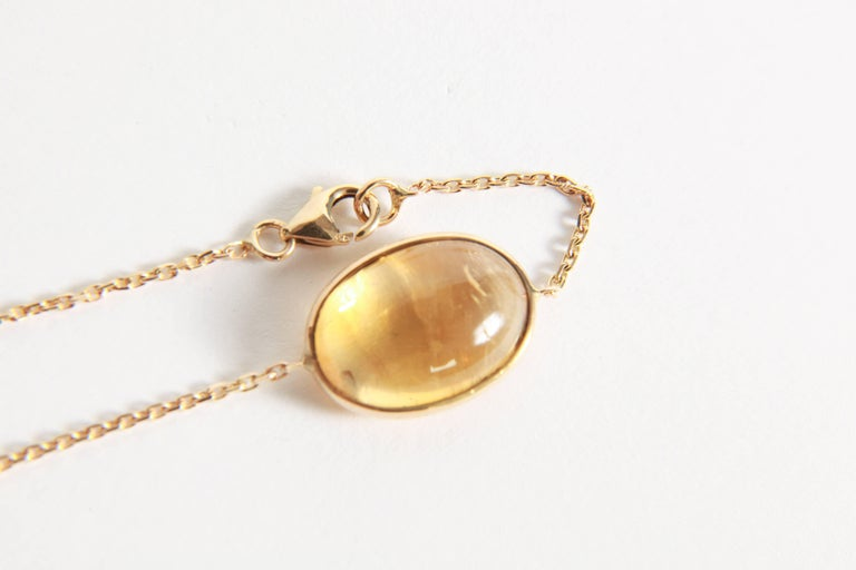 Citrine Cabochons Long Necklace by Marion Jeantet In As new Condition For Sale In Paris, FR