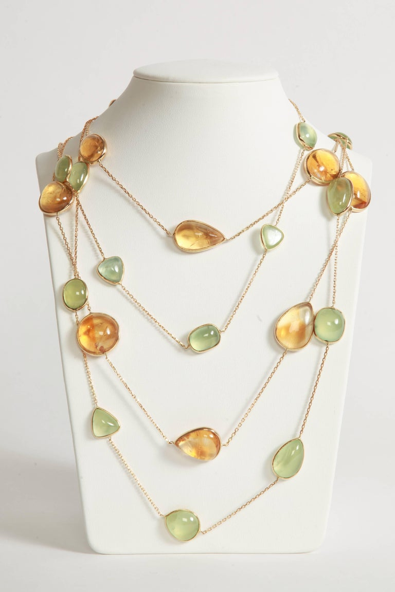 Citrine Cabochons Long Necklace by Marion Jeantet For Sale 1