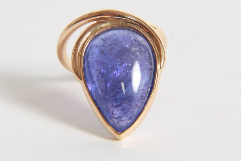 Contemporary Tanzanite Cabochon Ring by Marion Jeantet