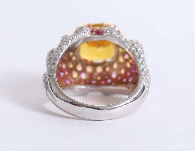 Cushion Cut Yellow Sapphire Ring by Marion Jeantet For Sale
