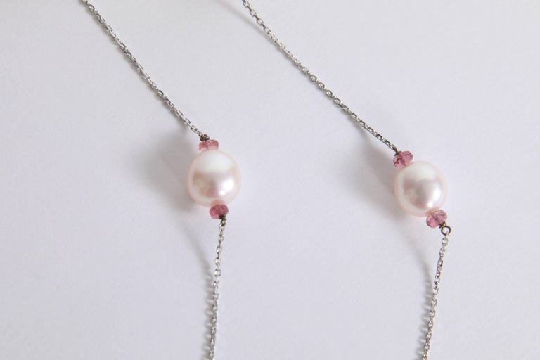 Contemporary Pearls Necklace with Pink Tourmalines Faceted Washers by Marion Jeantet For Sale