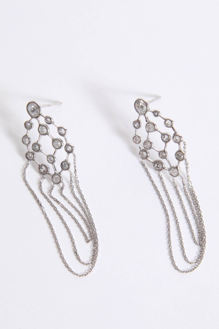 Art Deco Old Cut Diamonds and 18 Karat White Gold Refines Earrings by Marion Jeantet For Sale
