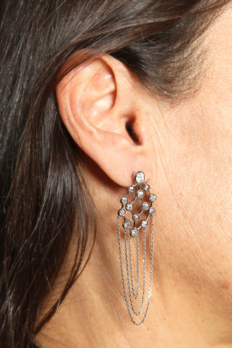Women's Old Cut Diamonds and 18 Karat White Gold Refines Earrings by Marion Jeantet For Sale