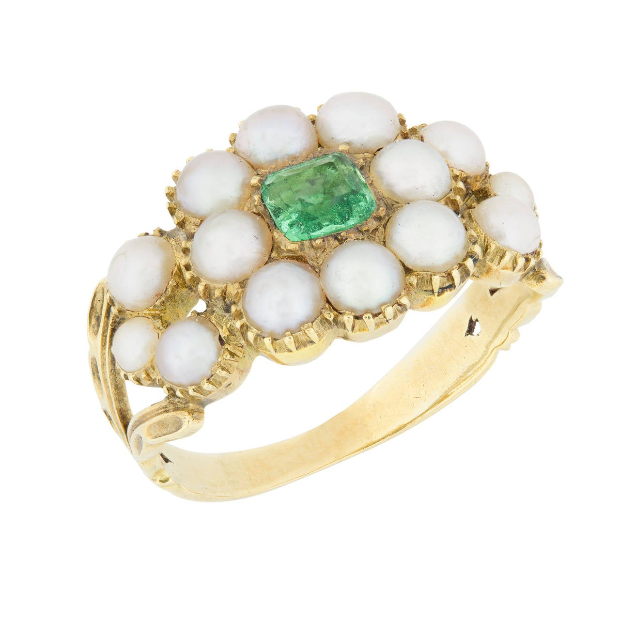 Museum Quality Regency Pearl Emerald Gold Cluster Ring 2