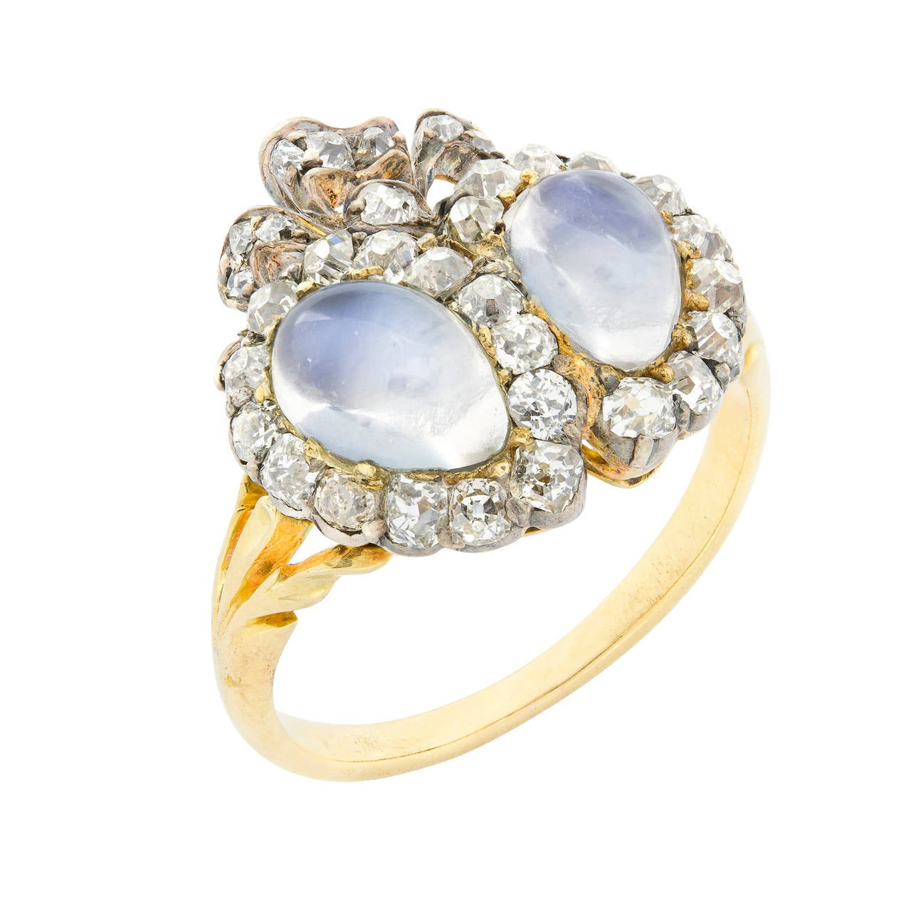 victorian double heart moonstone diamond ring at 1stdibs