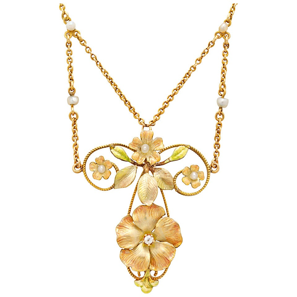 Art Nouveau Enamel Pearl Diamond Gold Floral Necklace